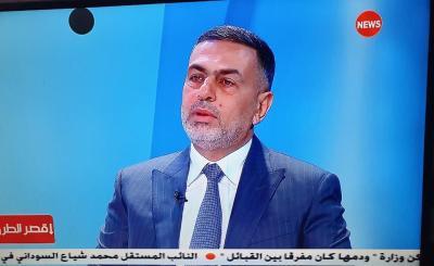 في حوار تلفزيوني العيداني: تفكيرنا بافتتاح منفذ الشلامجة لاغراض تجارية وانسانية تخدم اهل البصرة