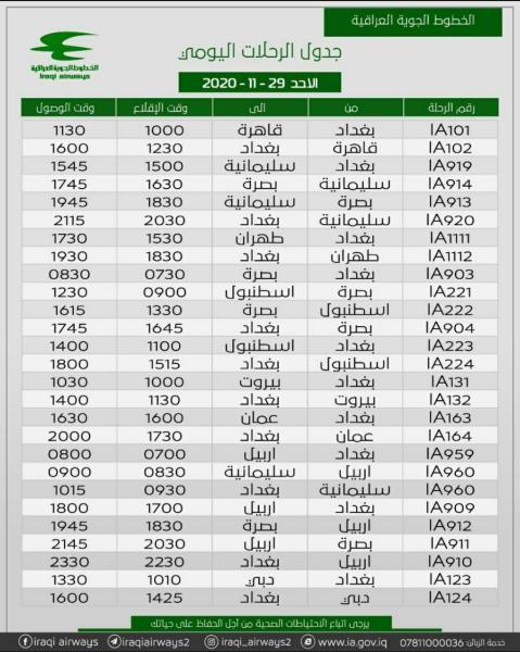 جدول رحلات شركة الخطوط الجوية العراقية   ليوم الأحد الموافق 29-11-2020