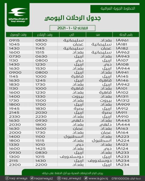 جدول رحلات شركة الخطوط الجوية العراقية   ليوم الثلاثاء  الموافق 12- 1-2021