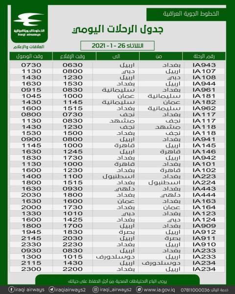 جدول رحلات شركة الخطوط الجوية العراقية   ليوم الثلاثاء الموافق 26- 1-2021