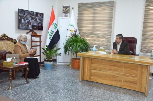الاجودي: يلتقي السيدة مي طة مديرة المركز الوطني للصحة والسلامة المهنية في البصرة