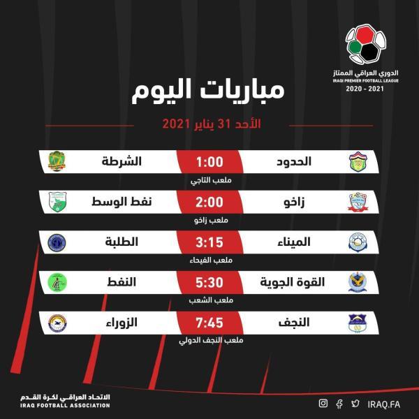 اليوم..خمسة مباريات ضمن الجولة16من الدوري العراقي الممتاز
