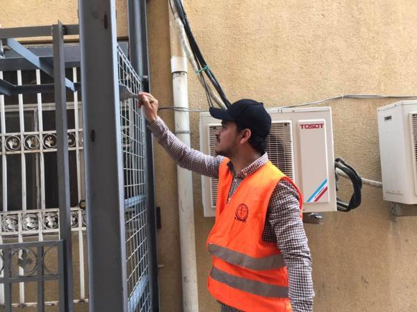 الجهد الطوعي يواصل انشاء مصعد كهربائي لطوارىء مستشفى المدينة العام