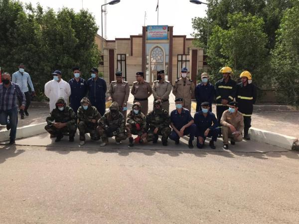 مديرية الدفاع  المدني  في  البصرة ..تقوم  بحملات  تعفير وتعقيم في المناطق ودور المصابين