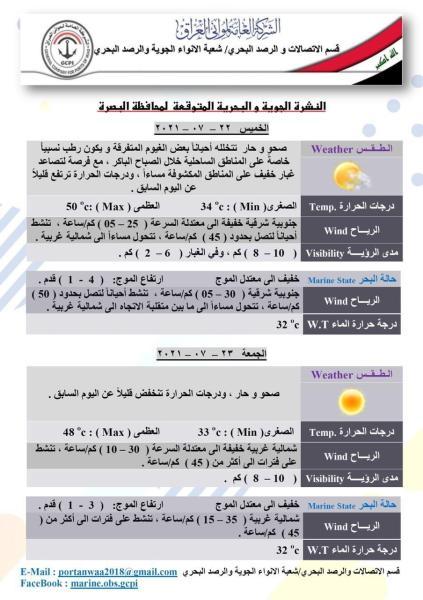 النشرة الجوية و البحرية لمحافظة البصرة لليومين القادمين تصدر عن :