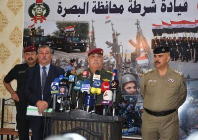 مؤتمر صحفي في مقر مديرية شرطة محافظة البصرة
