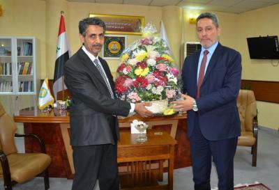 المهندس التميمي يهنئ رئيس جامعة البصرة ومساعده الاداري بتسنمهما مهام منصبيهما الجديدين