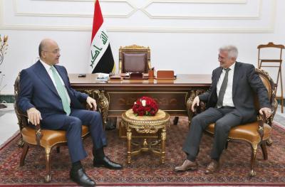 رئيس الجمهورية يستقبل سفير الاتحاد الأوروبي لدى العراق بمناسبة انتهاء مهام عمله